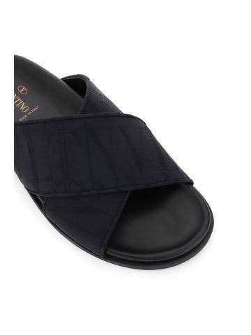 Black VLTN TIMES patterned slipper