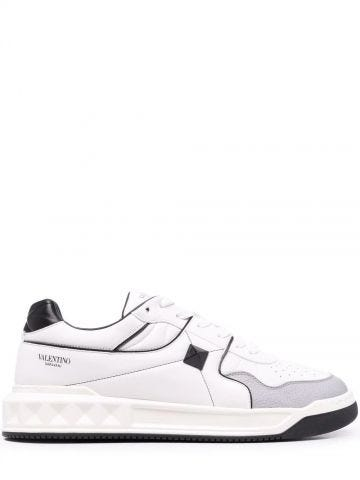 ONE STUD Low-Top white Nappa Sneakes