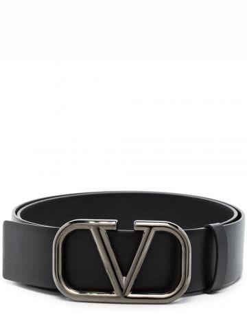 VLogo Signature belt in black calfskin leather