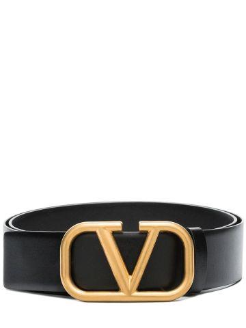 VLogo Signature belt in black calfskin