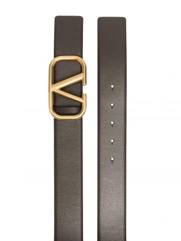 Cintura VLogo Signature in vitello marrone