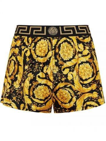 Gold Baroque print silk pajama shorts