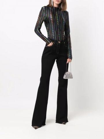 Black Medusa-motif flared jeans