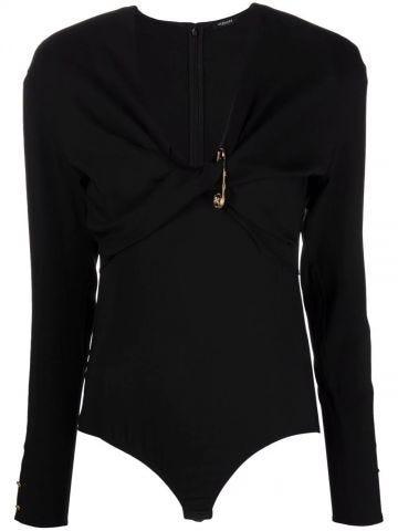 Black Safety Pin twist-front bodysuit