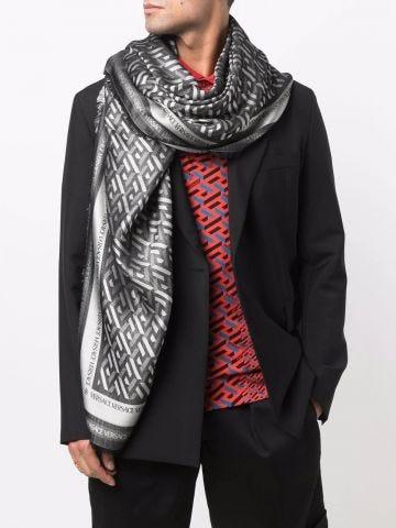 Grey geometric-pattern silk-blend scarf
