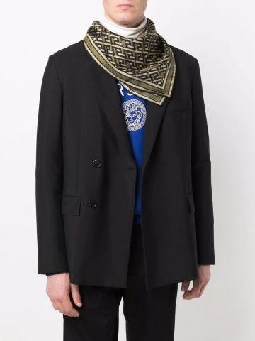 Green geometric-print silk scarf