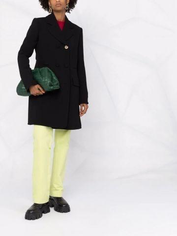 Cappotto in lana nera con Medusa