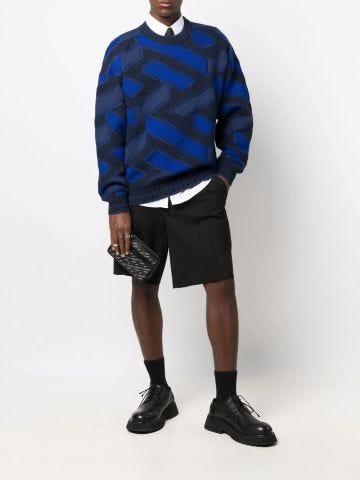 Blue La Greca jacquard knit jumper
