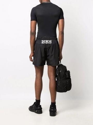 Black Greca print sport shorts