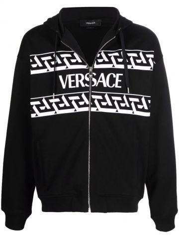 Black Greca accent hoodie