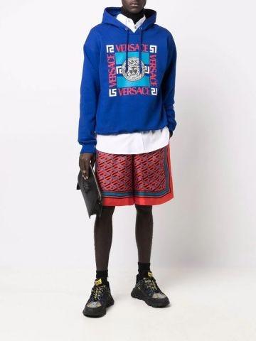 Blue Medusa motif-print hoodie