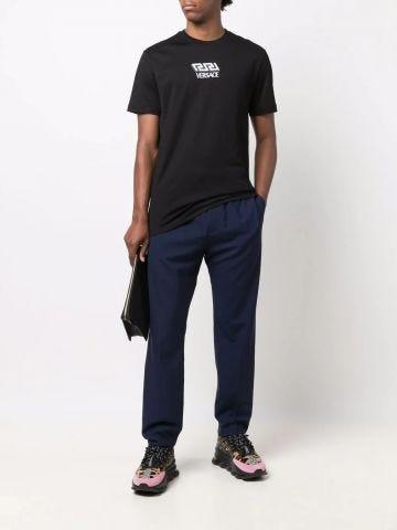 Black La Greca embroidered T-shirt