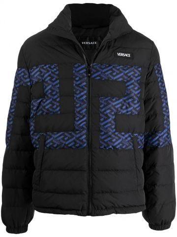 Black La Greca accent puffer jacket