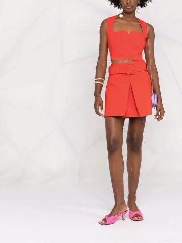 Red cady mini skirt