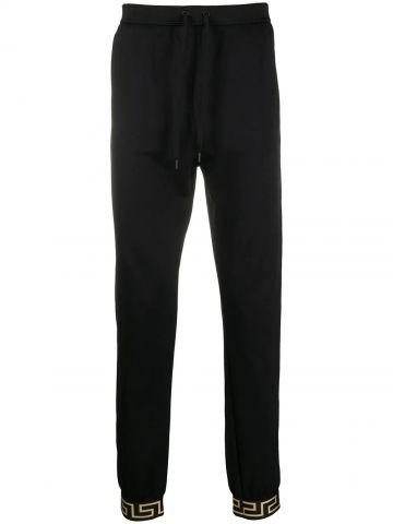 Black Greca detail track pants