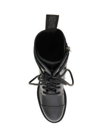 Black logo military boots