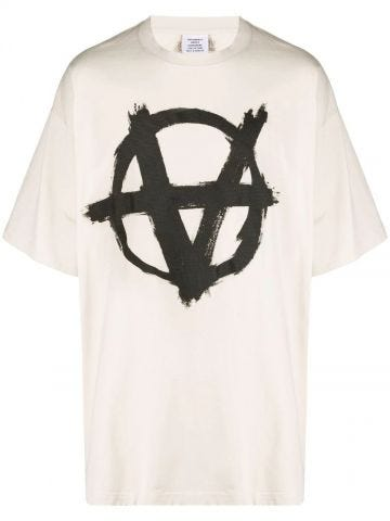 White Inverted Anarchy print T-shirt