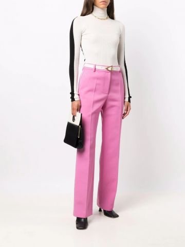 Pink tailored straight-leg trousers
