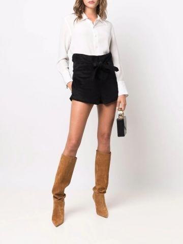 Black tie-waist cotton corduroy shorts