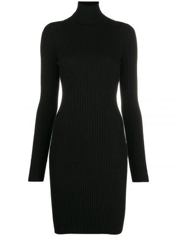 Black virgin wool ribbed jumper dress