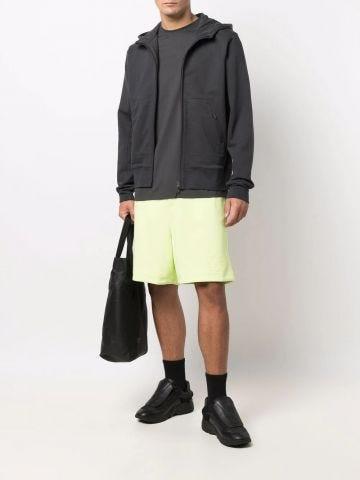 Yellow drawstring jersey track shorts