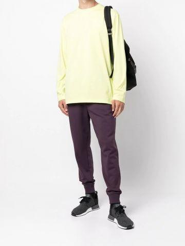 Purple jersey drawstring track pants