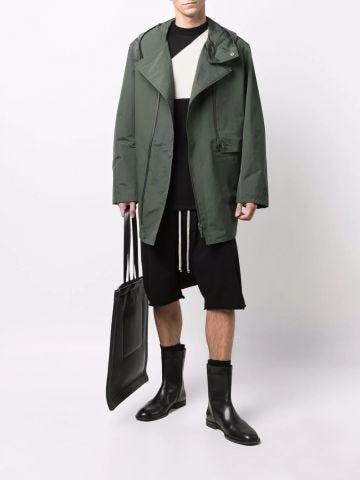 Green zipped hooded parka