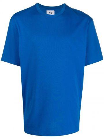 Blue rear logo-print T-shirt
