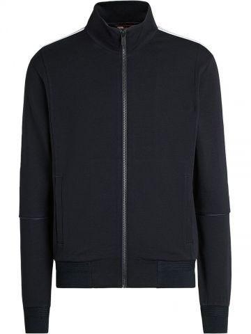 Navy blue stripe-trim merino-blend jacket
