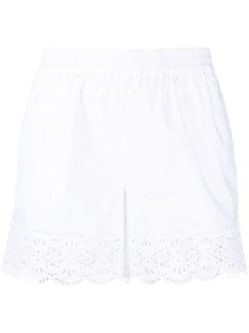 Pantaloncini bianchi con bordo di pizzo a vita alta