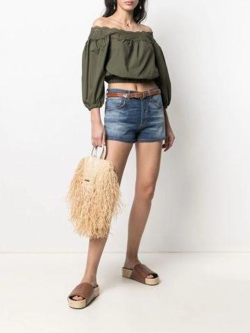 Green broderie anglaise off-shoulder cropped blouse
