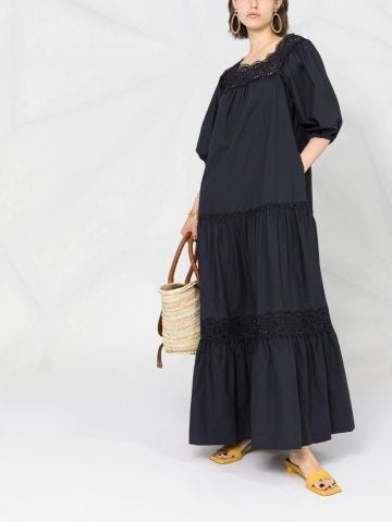 Blue long flared dress