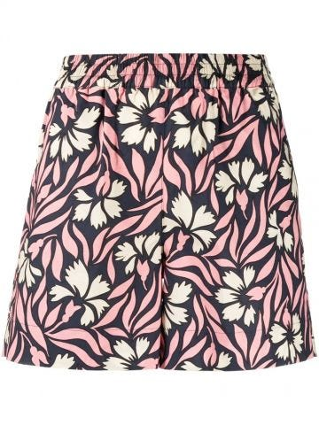 Pink floral-print cotton shorts