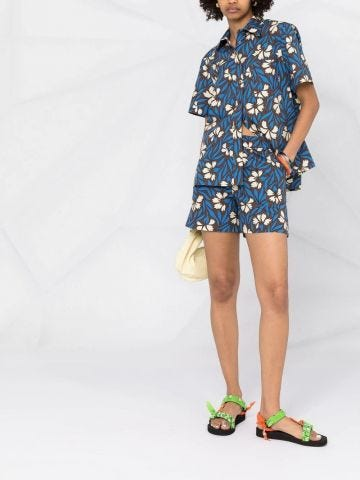 Blue floral-print cotton shorts