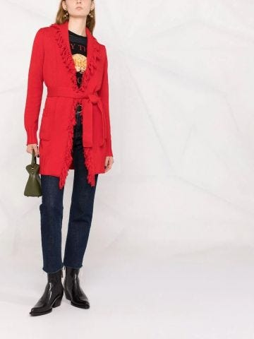 Red frayed-edge cotton cardigan