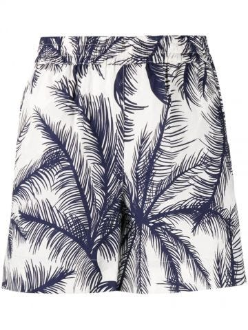 White and blue palm tree-print shorts