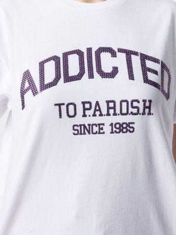 White stud-logo cotton T-shirt