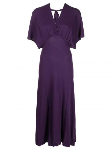 Purple side-slit V-neck dress