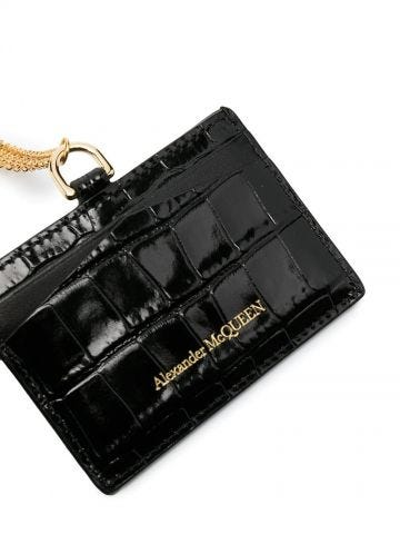 Black Skull Card Holder with Strap