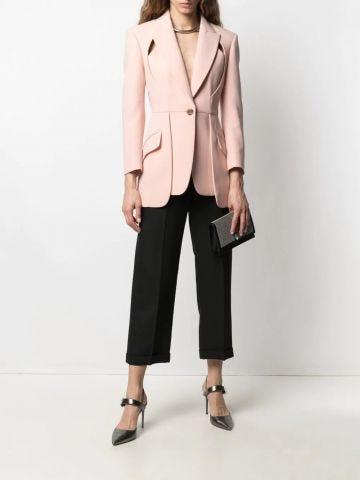 Pink Leaf Crepe drop hem jacket with slash detailing