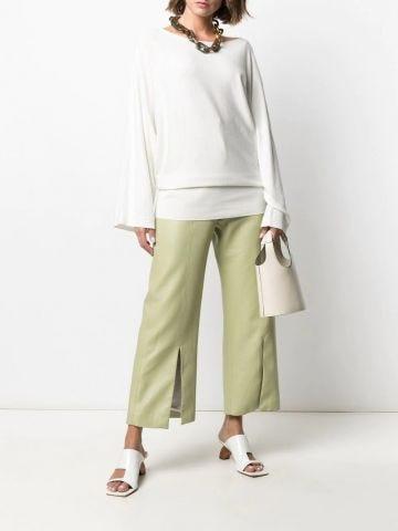 White boat-neck cotton-blend sweater
