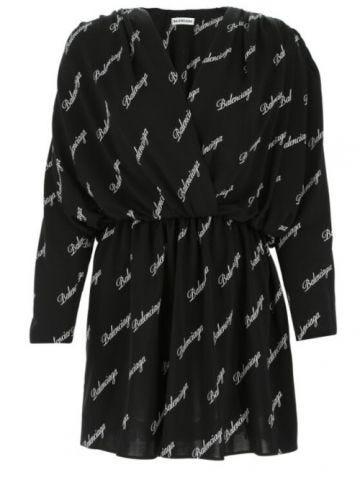 Short black dress with all-over Balenciaga logo