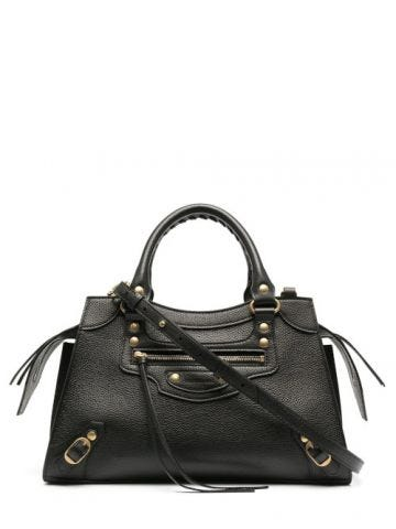 Neo Classic Small Top Handle Bag in black grained calfskin