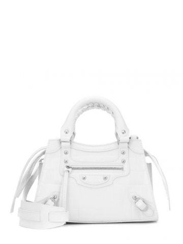 Neo Classic Mini Top Handle Bag in white semi-shiny crocodile embossed calfskin, aged silver hardware