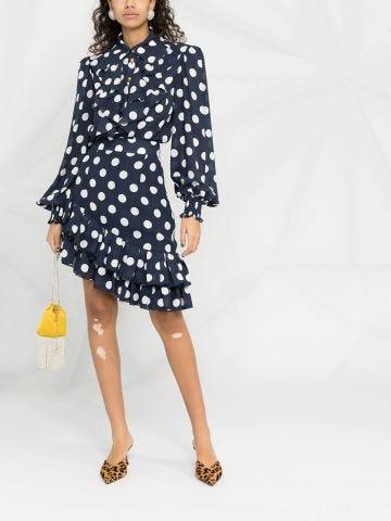 Blue polka-dot silk shirt