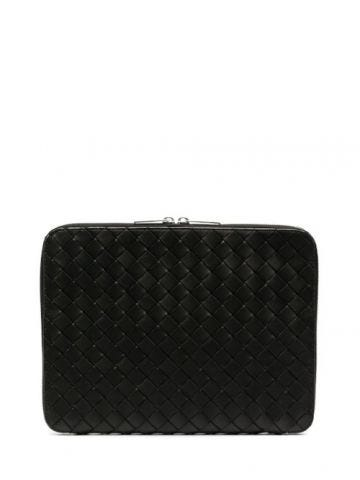 Document case in black Intrecciato Hydrology Calf leather