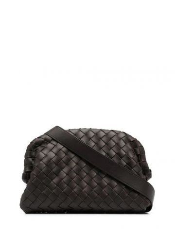Brown braided shoulder bag