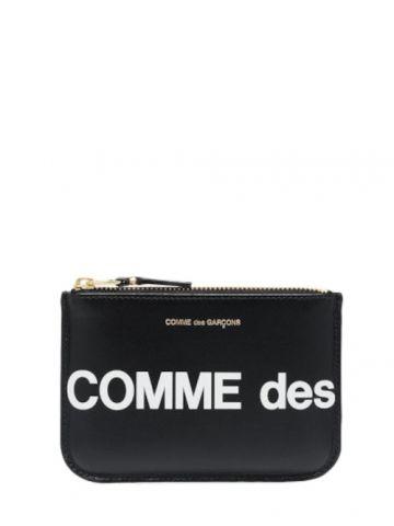 Black logo-print pouch