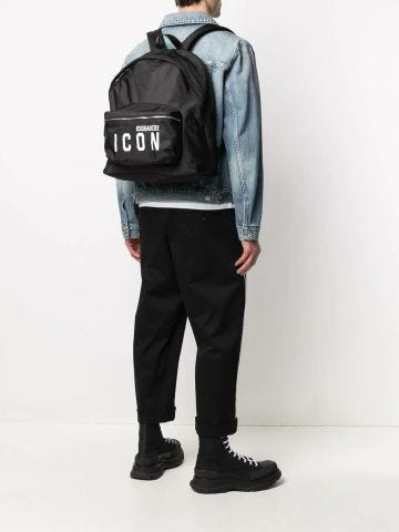 Icon printed black backpack