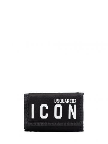 Black trifold Icon wallet in nylon with velcro closure